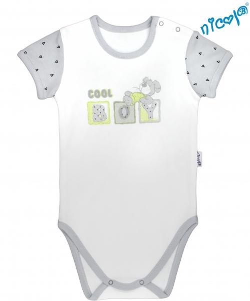 Dojčenské body Nicol - krátky rukáv, Boy - sivé/smotanová, veľ. 98-98 (24-36m)