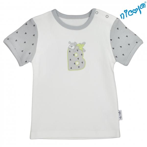 Dojčenské bavlnené tričko Nicol,  Boy - krátky rukáv,  sivé/smotanová, veľ. 68-68 (4-6m)