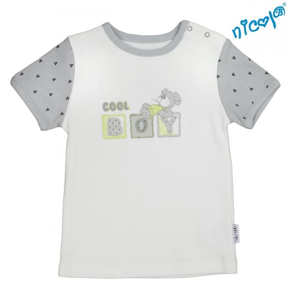 Dojčenské bavlnené tričko Nicol,  Boy - krátky rukáv,  sivé/smotanová, veľ. 92