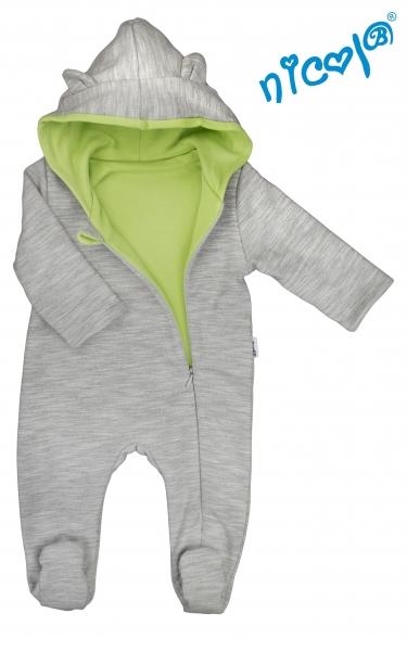 Dojčenský overal / kombinéza Nicol s kapucňou, oteplenie, Boy - šedo/zelený, vel. 80-80 (9-12m)