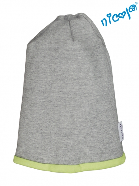 Dojčenská čiapočka Nicol, Boy - sivá/zelený lem