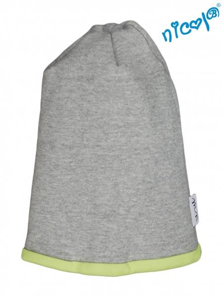 Dojčenská čiapočka Nicol, Boy - sivá/zelený lem, veľ. 104/116-104/116