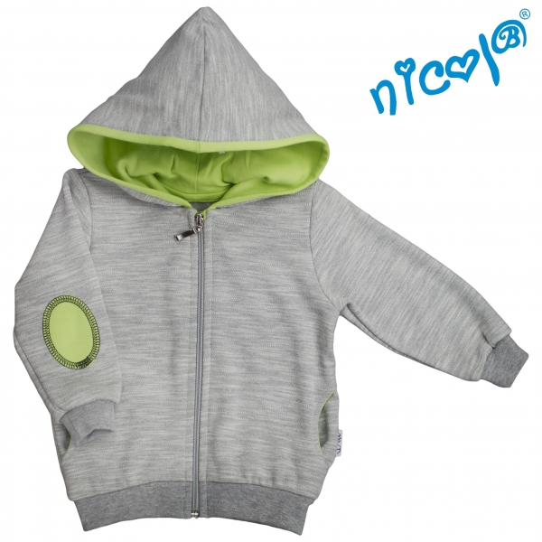 Mikina s kapucňou Nicol, zapinanie na zip, Boy - sivá/zelená, veľ. 86