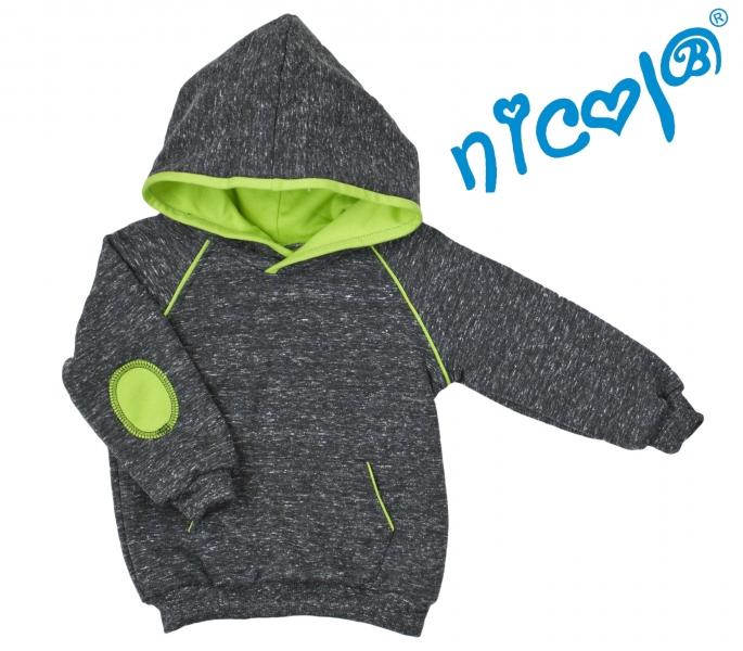 Mikina s kapucňou Nicol, Boy - grafit/zelená, veľ. 104
