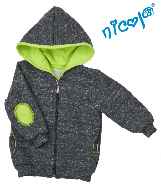 Mikina s kapucňou Nicol, zapinanie na zip, Boy - grafit/zelená-56 (1-2m)