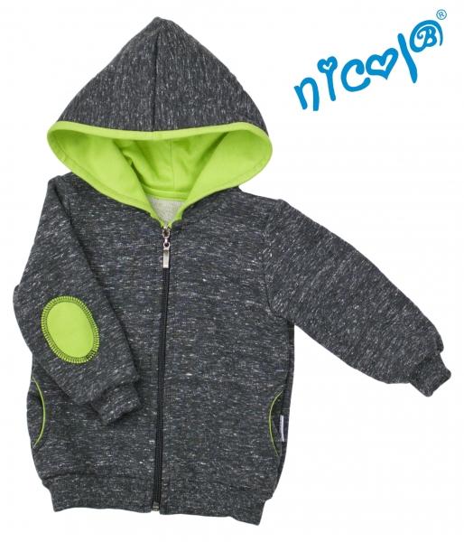 Mikina s kapucňou Nicol, zapinanie na zip, Boy - grafit/zelená, veľ. 80-80 (9-12m)