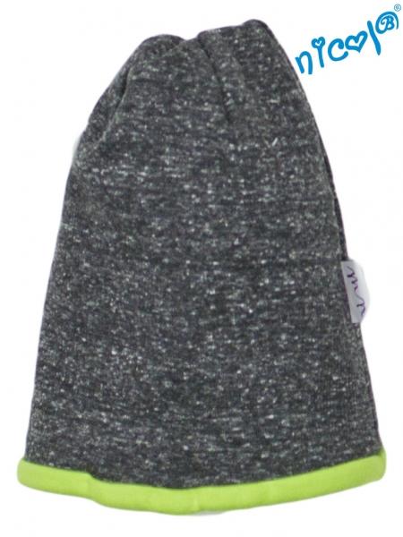 Dojčenská čiapočka Nicol, Boy - grafit/zelený lem, veľ. 92/98-92 (18-24m)