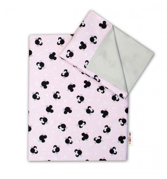 2-dielne bavlnené obliečky Baby Nellys - Minnie ružové/šedé, 135 x 100