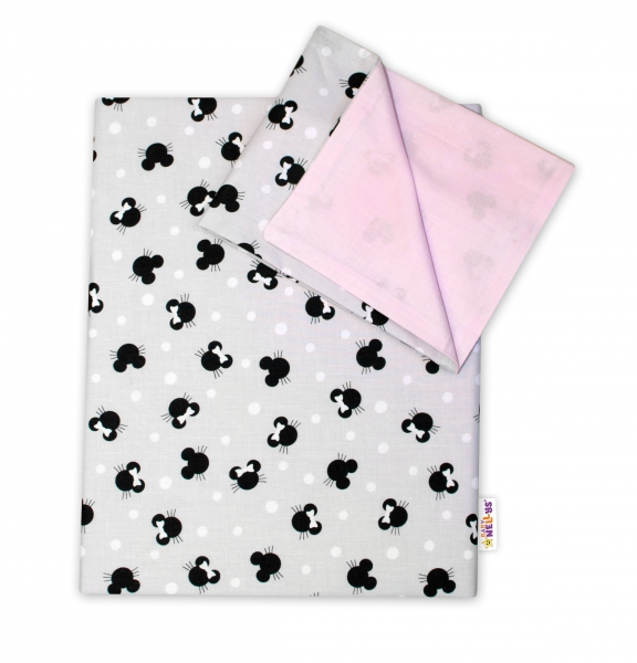 2-dielne bavlnené obliečky Baby Nellys -Minnie sivé/ružové, 135x100 cm