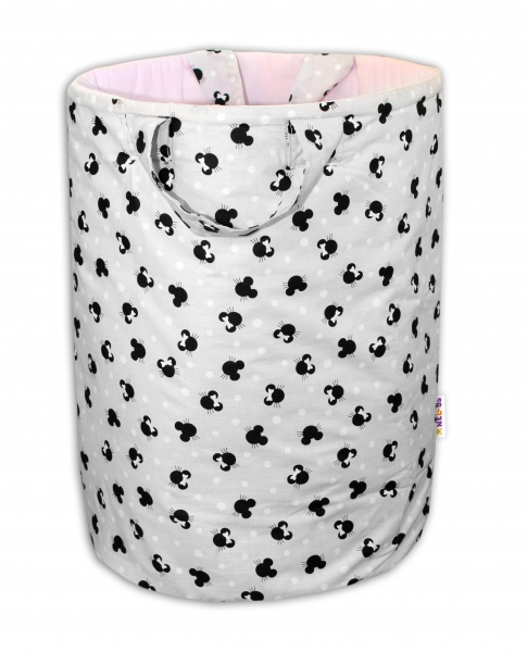 Bavlnený kôš na hračky Baby Nellys, Minnie  - sivý/ružová