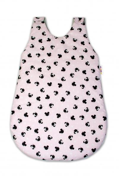 Bavlnený spací vak Baby Nellys, Minnie, 70 cm - růžový/šedý
