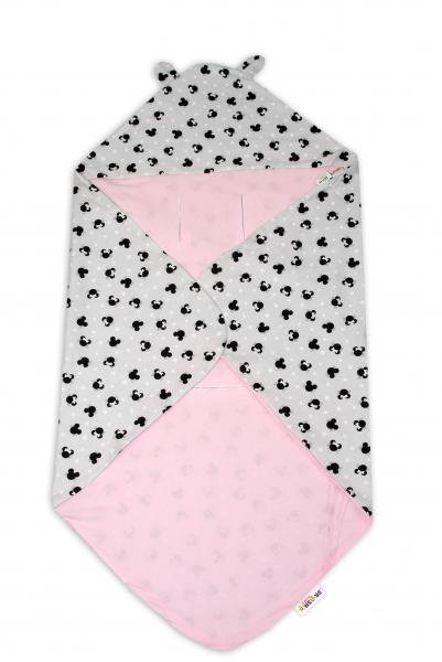 Bavlnená zavinovacia deka s kapucňou Baby Nellys - Minnie, sivý/ružový