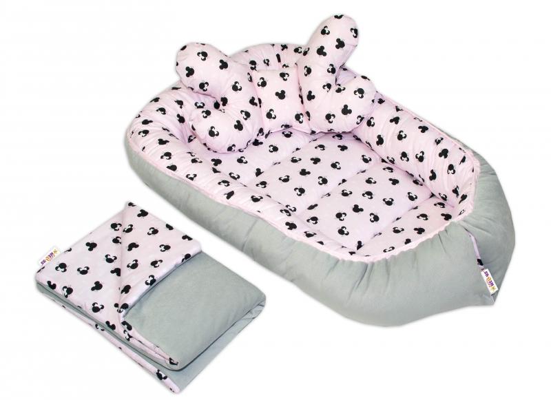 Sada komplet, obojstranné hniezdočko Baby Nellys Velvet, 55x85cm, Minnie ružové/šedé