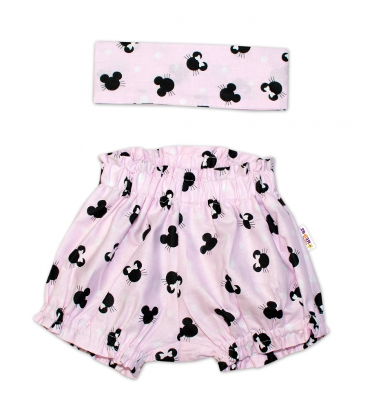 Bavlnené kraťasky s čelenkou Baby Nellys - Minnie ružové,  veľ. 0 - 1 rok-0-1rok