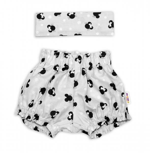 Bavlnené kraťasky s čelenkou Baby Nellys - Minnie sivé, vel. 1- 4 roky-1-4 roky