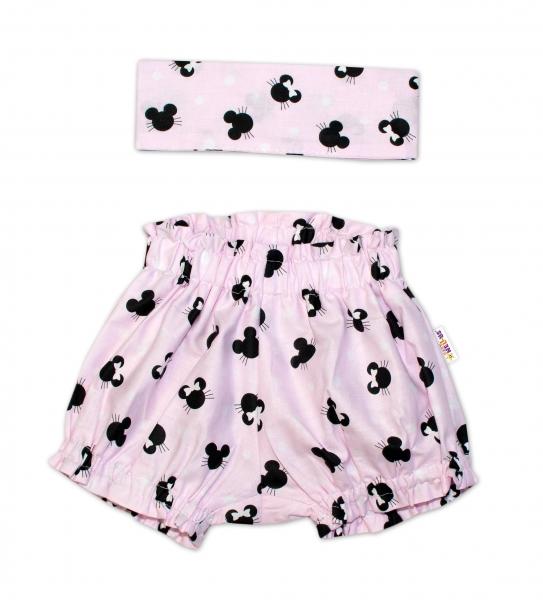 Bavlnené kraťasky s čelenkou Baby Nellys - Minnie ružové,  veľ. 1 - 4 roky