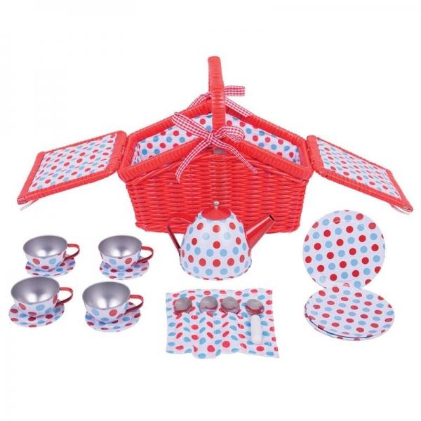 Bigjigs Piknikový košík Julia s čajovým servisom