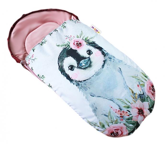 Detský fusak Baby Nellys WINTER LUXURY velvet, 105 x 55 cm - tučnák / pudrově růžová