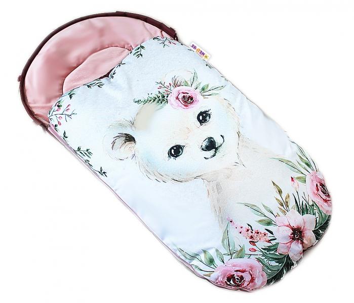 Detský fusak Baby Nellys WINTER LUXURY velvet, 105 x 55 cm - Mišo / pudrově růžová