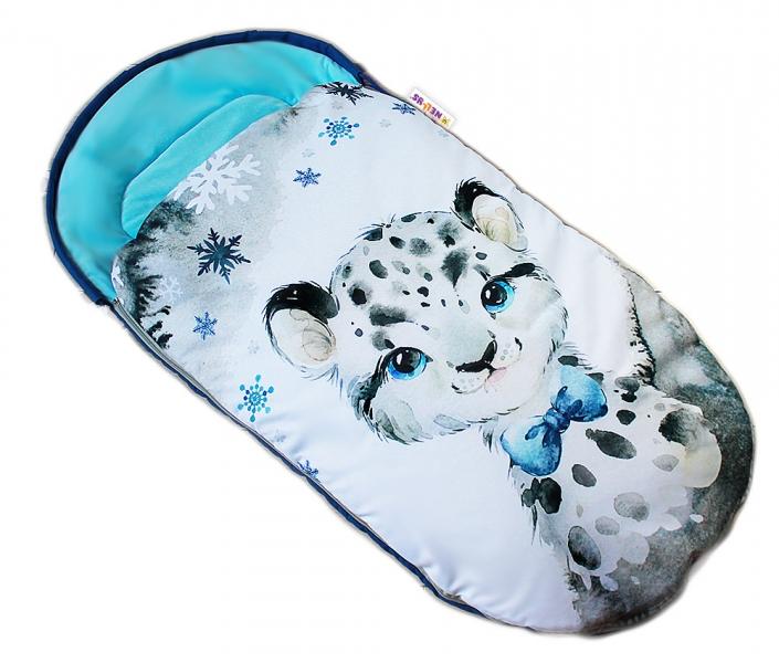 Detský fusak Baby Nellys WINTER LUXURY velvet, 105 x 55 cm - gepardík  / tyrkys