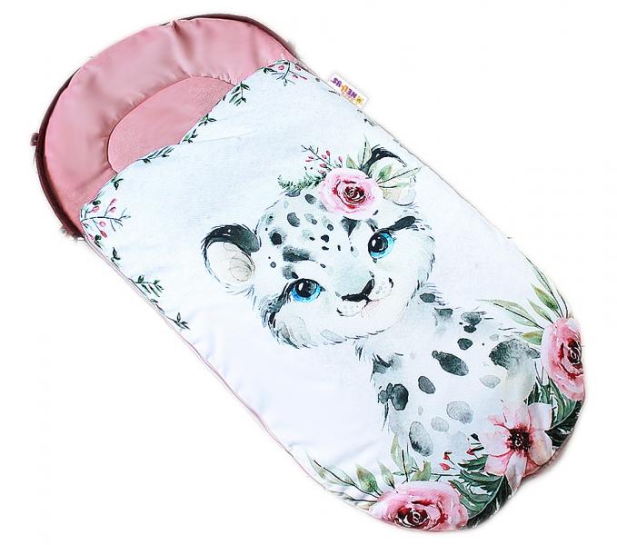 Detský fusak Baby Nellys WINTER LUXURY velvet, 105 x 55 cm - gepardík  / pudrovo ružová