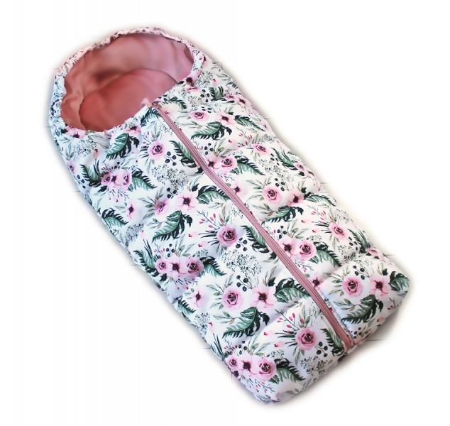 Detský fusak Baby Nellys ARTIC LUX velvet, 95 x 45 cm - kvetinky/ružový