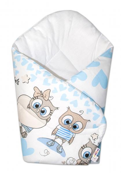 Baby Nellys  Novorodenecká zavinovačka Cute Owls, Baby Nellys, 75x75cm - modrá
