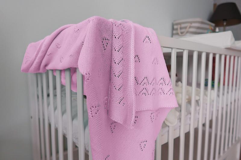 Detská akrylová deka, dečka Baby Nellys, 90 x 90 cm - jemný vzor - sv. ružová