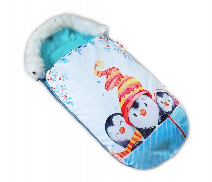 Fusak Baby Nellys Winter Friends Lux velvet s kožušinkou, 105x55 cm - kamaráti / tyrkys