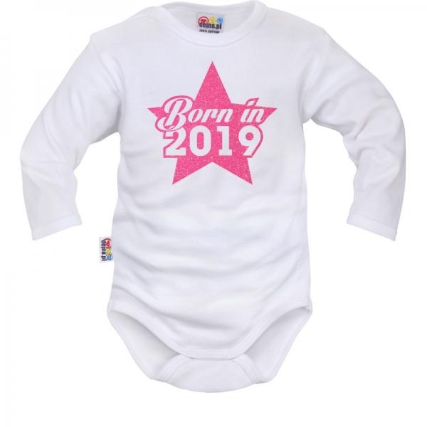 Body dlhý rukáv Dejna Born in 2019 - bielo/ružové, veľ. 68-68 (4-6m)