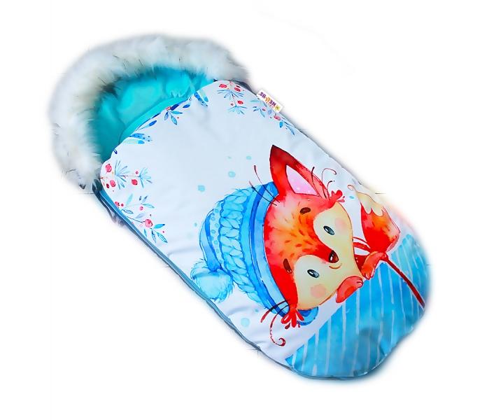 Fusak Baby Nellys Winter Friends Lux velvet s kožušinkou, 105x55 cm - liška/ tyrkys