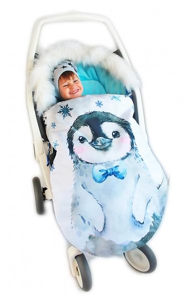 Fusak Baby Nellys Winter Friends Lux velvet s kožušinkou, 105x55 cm - tučňák/ tyrkys