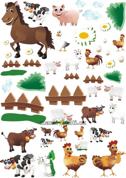 Nálepky, dekorácie na stenu 70x100 cm - Farma,