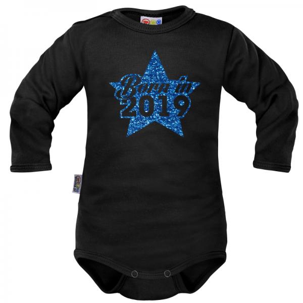 Body dlhý rukáv Dejna Born in 2019 - čierno/modré, veľ. 74