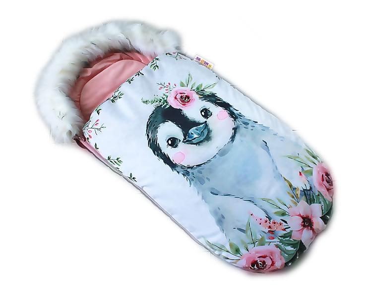 Fusak Baby Nellys Winter Friends Lux velvet s kožušinkou, 105x55 cm - tučňák/pudr. ružová