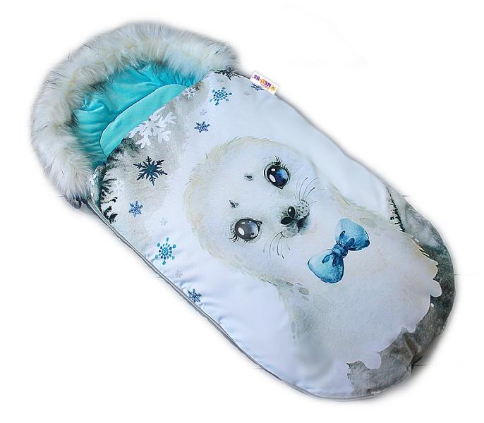 Fusak Baby Nellys Winter Friends Lux velvet s kožušinkou, 105x55 cm - lachtan/tyrkys