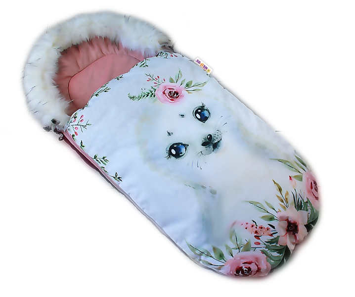 Fusak Baby Nellys Winter Friends Lux velvet s kožušinkou, 105x55 cm - lachtan/pudr. ružová