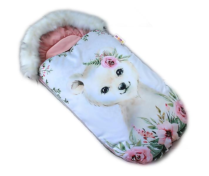 Fusak Baby Nellys Winter Friends Lux velvet s kožušinkou, 105x55 cm - medveď./pudr. ružová