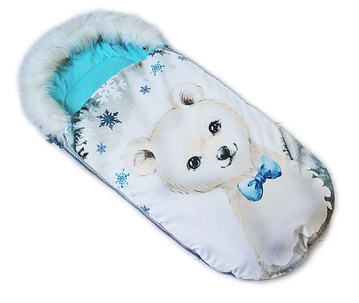 Fusak Baby Nellys Winter Friends Lux velvet s kožušinkou, 105x55 cm - medvíd./tyrkys