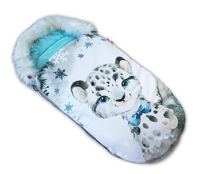 Fusak Baby Nellys Winter Friends Lux velvet s kožušinkou, 105x55 cm - gepardík/tyrkys