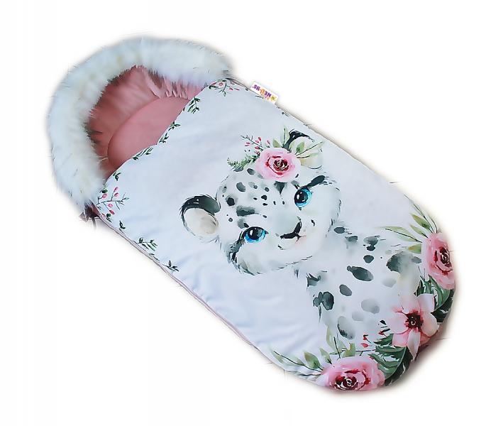 Fusak Baby Nellys Winter Friends Lux velvet s kožušinkou, 105x55 cm - gepardík/pudrová