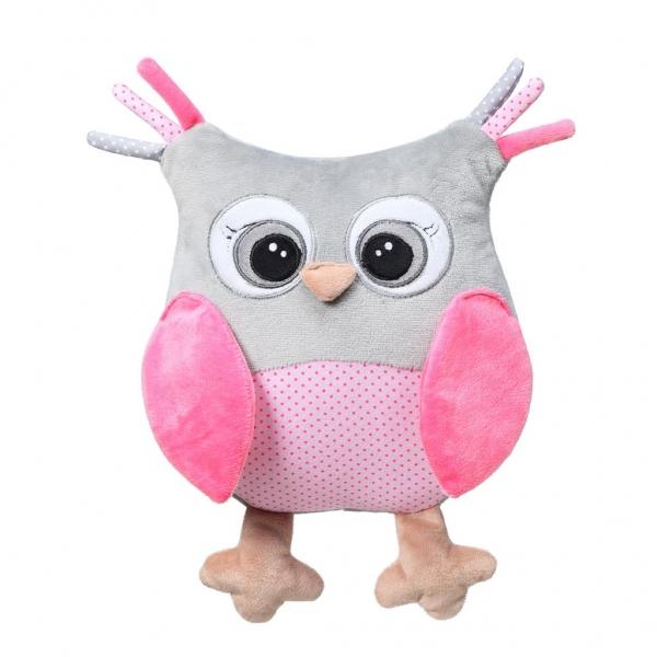 BabyOno Plyšová hračka s hrkálkou Owl Sofia - ružová