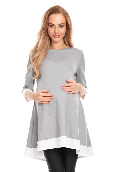 Tehotenské asymetrické mini šaty/tunika - sivé veľ. L/XL