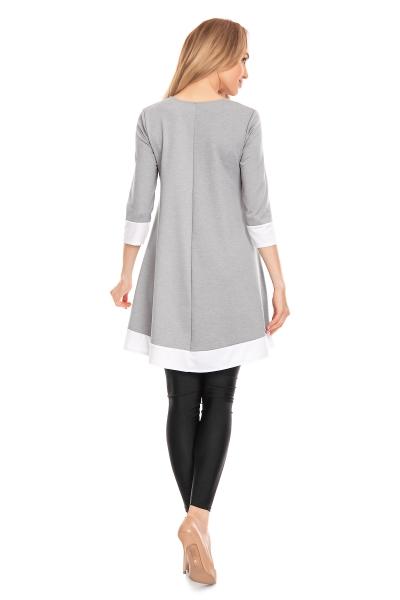 Tehotenské asymetrické mini šaty/tunika - sivé