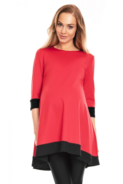 Be Maamaa Tehotenské asymetrické mini šaty/tunika - červené, veľ. L/XL
