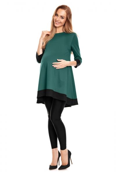 Tehotenské asymetrické mini šaty/tunika - zelené