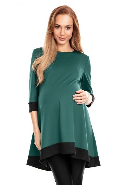Be Maamaa Tehotenské asymetrické mini šaty/tunika - zelené, veľ. L/XL
