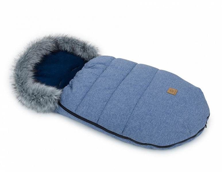 Mamo Tato Zimný fusak Lux s kožušinkou, 50 x 100cm - Jeans / Granátový/bavlněný