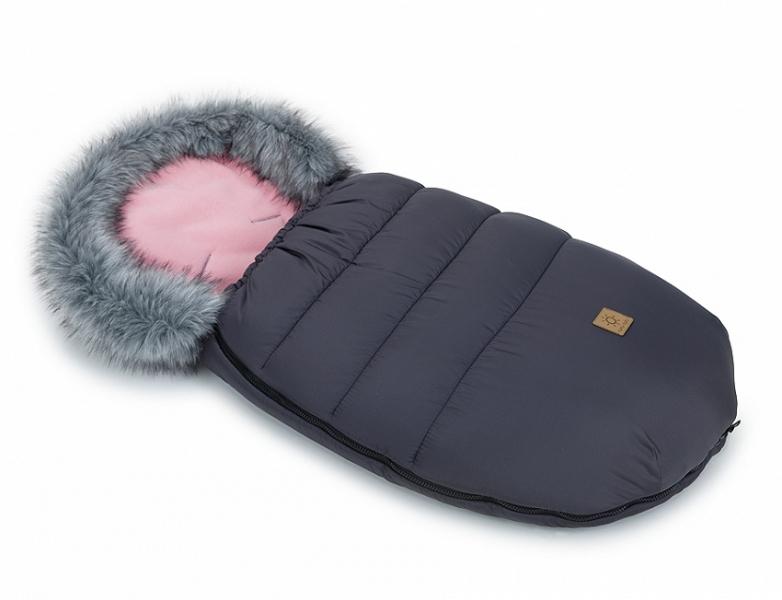 Mamo Tato Zimný fusak Lux s kožušinkou, 50 x 100cm -  Grafit/ružová
