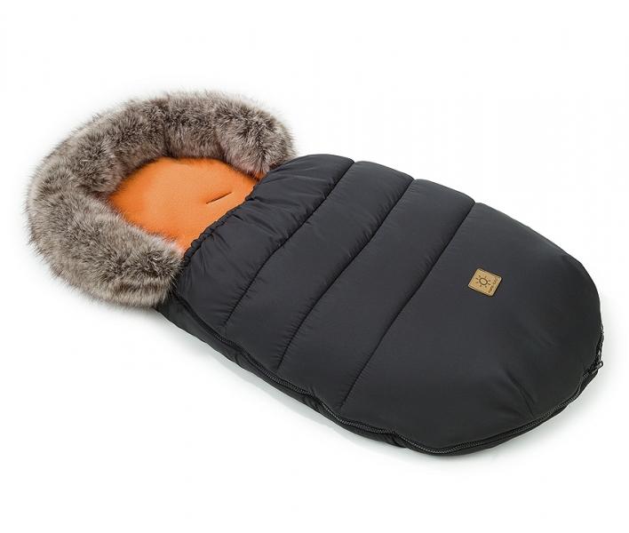 Mamo Tato Zimný fusak Lux s kožušinkou, 50 x 100cm -  Čierna/cihlová